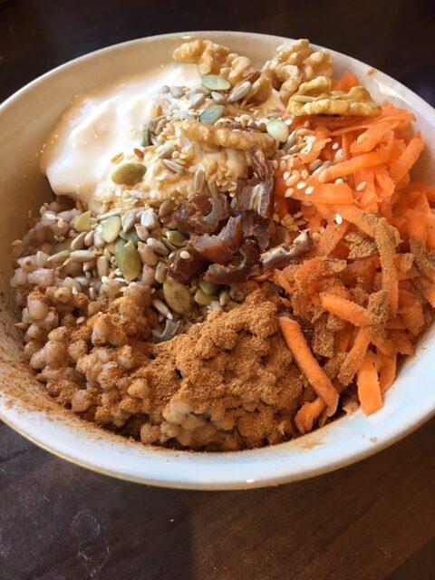 Carrot cake grain bowl